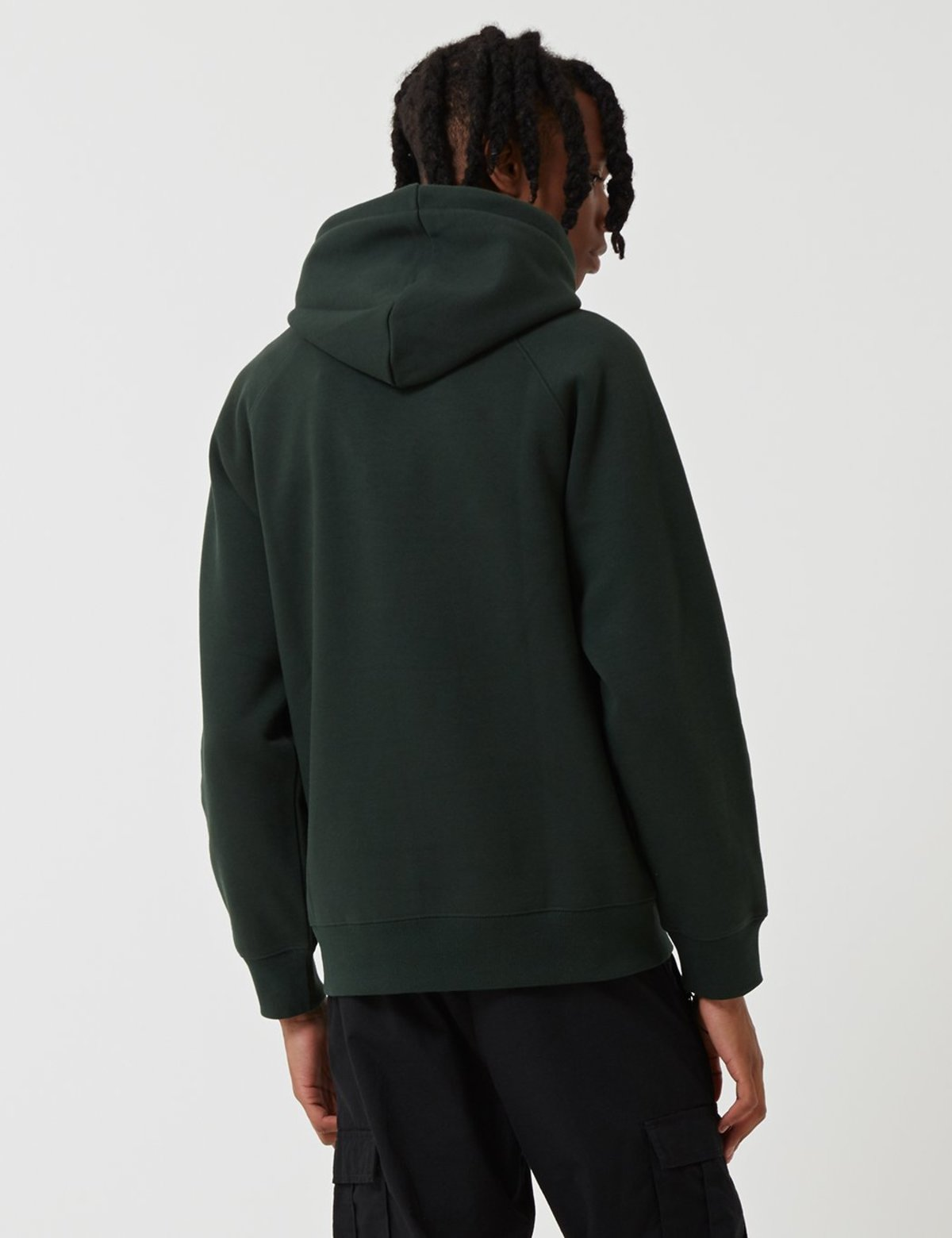 Loden Green//White in S,M,L,XL Carhartt Hooded Chase Sweatshirt Pullover