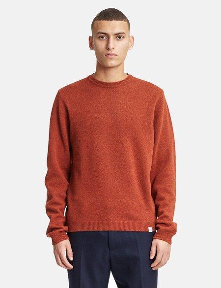 Norse Projects Sigfred Knit Lambswool Sweatshirt - Signal Orange