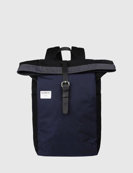 Sandqvist Silas Canvas Backpack - Black/Blue/Grey
