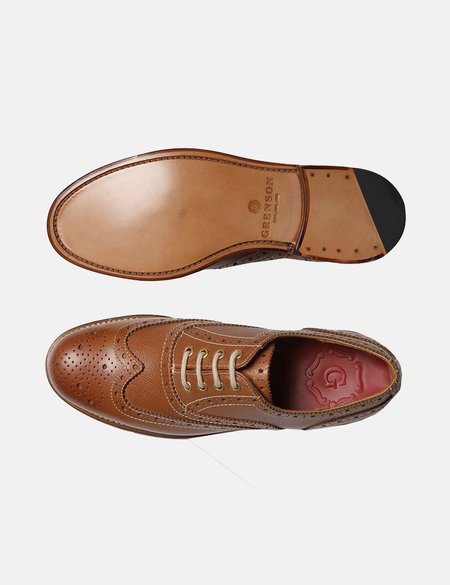 Grenson Rose Brogue Shoes - Tan