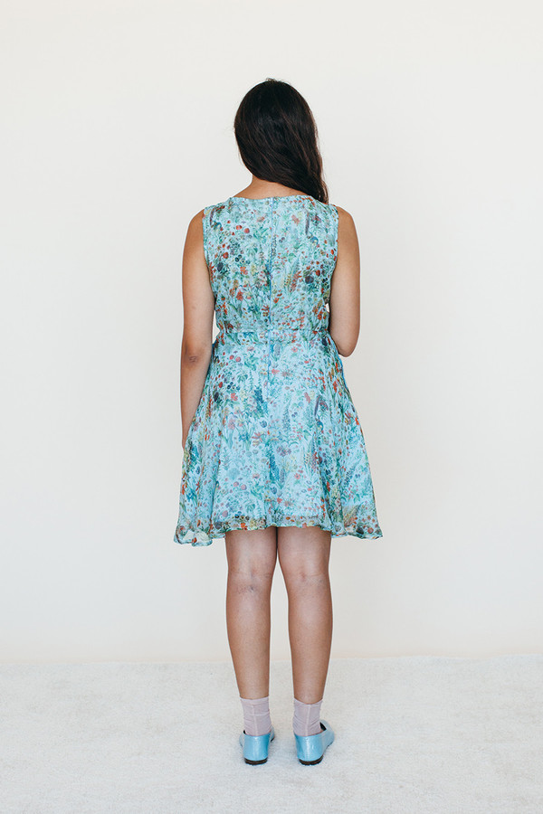 Samantha Pleet Strata Dress - Blue Floral Print