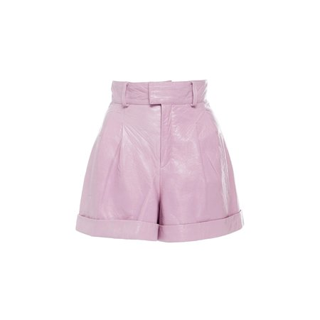 Nour Hammour Cameron Metallic Leather Shorts - Lilac