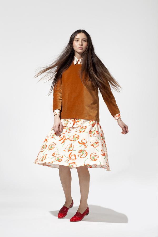 Carleen Swing Midi Skirt - Poppy