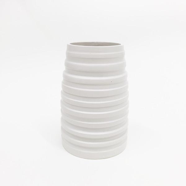 Ashley Hardy Large White Ribbed Vase