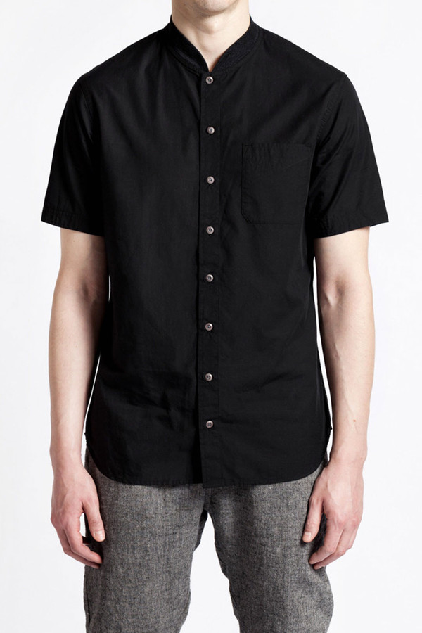 Men's Wings + Horns Knit Collar S/S Shirt I Black