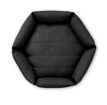 Velvet Hippo Hex Cushion Dog Bed - Dark Grey