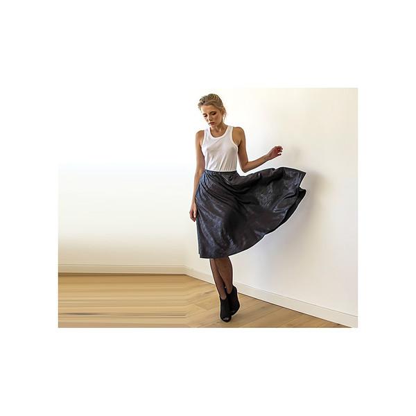 Blush Black Metallic Midi Skirt