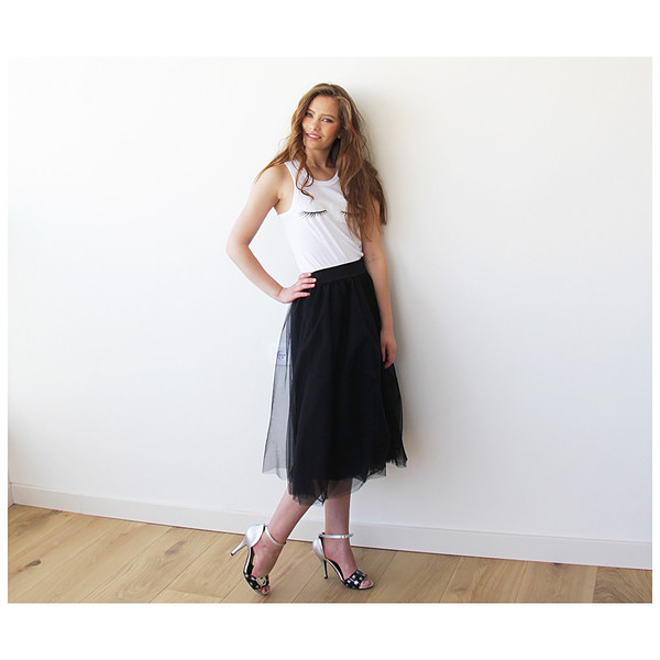 Blush Black Tulle Midi Skirt