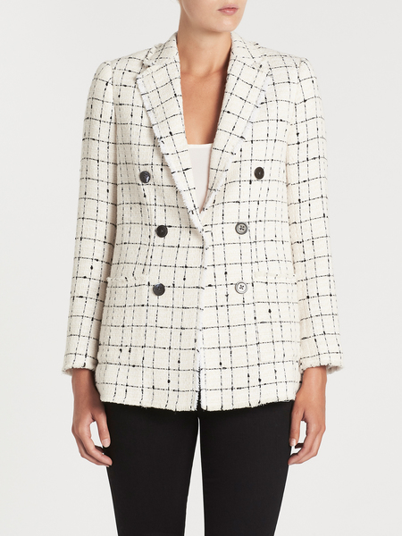 Rebecca Taylor Plaid Tweed Blazer - Cream