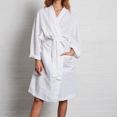 In Bed Linen Robe - White