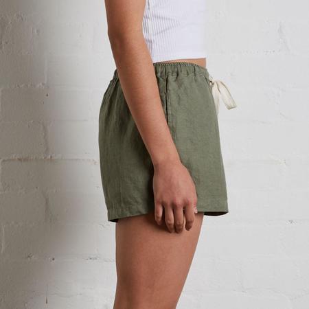 In Bed Linen Shorts - Khaki