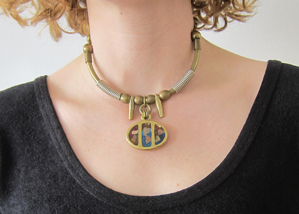 Brass Mosaic Necklace