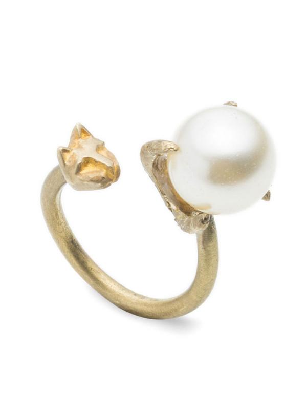 NATALIE FRIGO Pearl And Tiny Cat Adjustable Ring