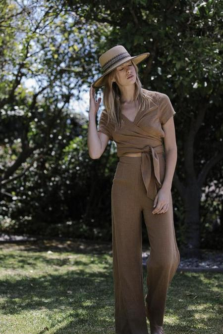 Six Crisp Days Simis Wrap Jumpsuit - Camel