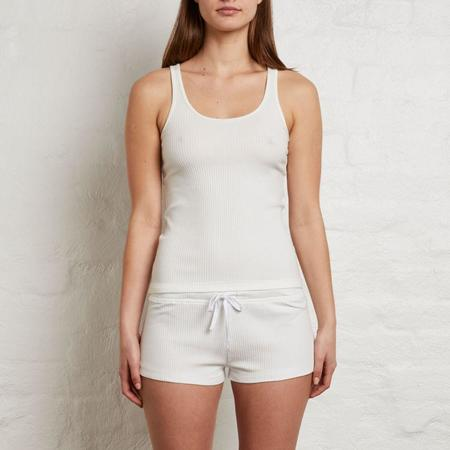 In Bed Ribbed Cotton Singlet - White