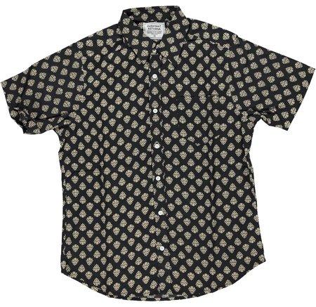 Dushyant Asthana Hand-Printed The Folk Short Sleeve Shirt - Black Motif Print