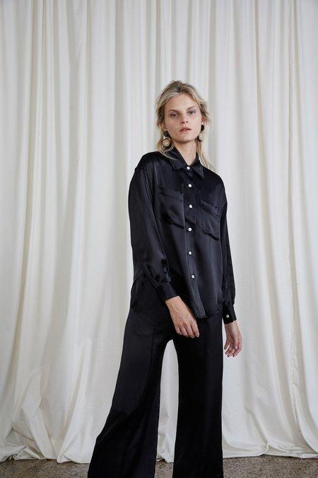OVNA OVICH Sherman Silk Satin Shirt - Onyx