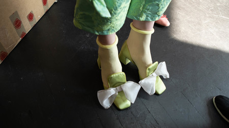 Suzanne Rae D'orsay With Silver Bow in Green