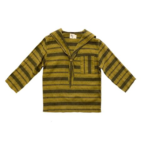 Kids Nico Nico Clothing Tomas Sailor Shirt - Chartreuse Stripe