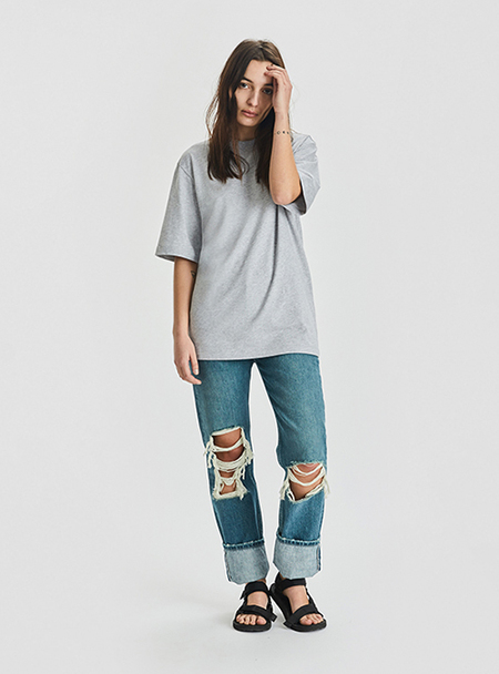 I AND ME Ripped Selvedge Slim Leg Jeans - Vintage Wash