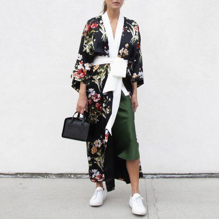 Olivia Von Halle Queenie Long Kimono - Violeta