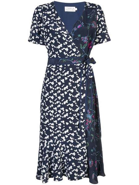 Tanya Taylor Silhouette Spots Luisa Dress - Navy