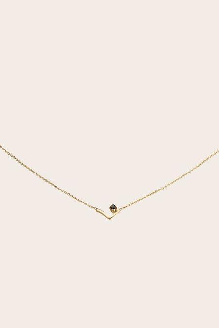 WWAKE Triangle Lineage Black Diamond Necklace - 14k Gold