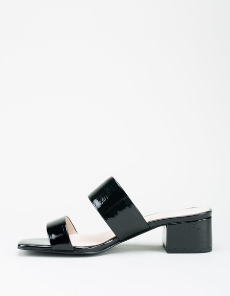 """Intentionally __________."" Scamp Sandal - Black Patent"