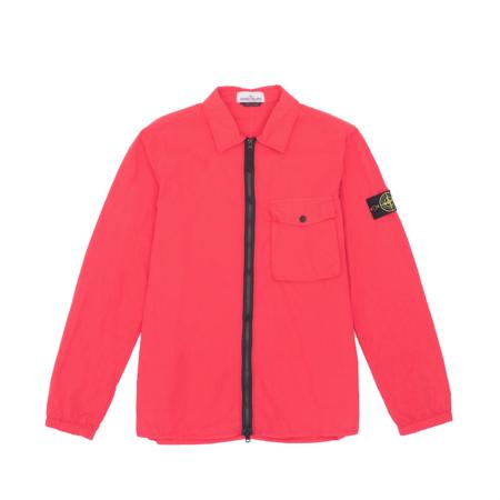 Stone Island Garment Dyed Zip Pocket Overshirt - Coral
