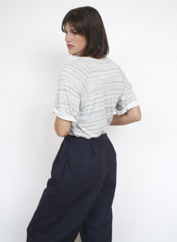 Fifteen-Twenty Stripe Roll Sleeve Tee