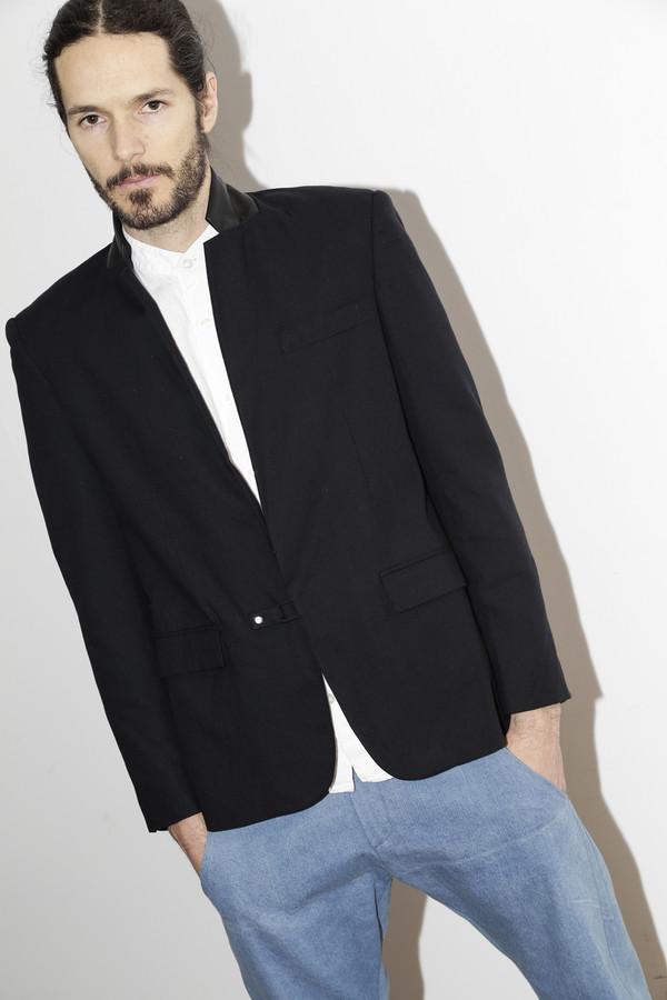 Men's Assembly Black Cotton Suit Jacket