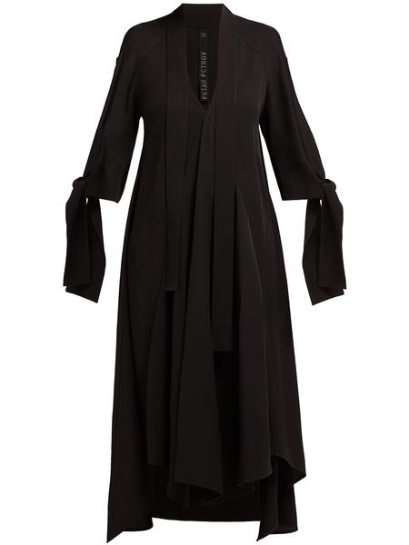 Petar Petrov Dillon Bow-Embellished V-Neck Dress with Handkerchief Hem