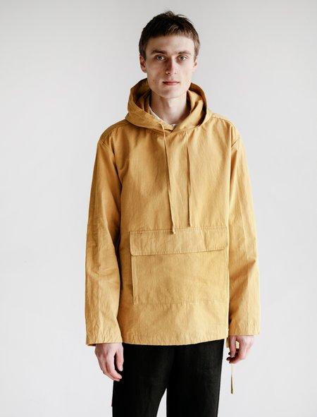 Evan Kinori Cotton and Hemp Typewriter Cloth Anorak - Ochre