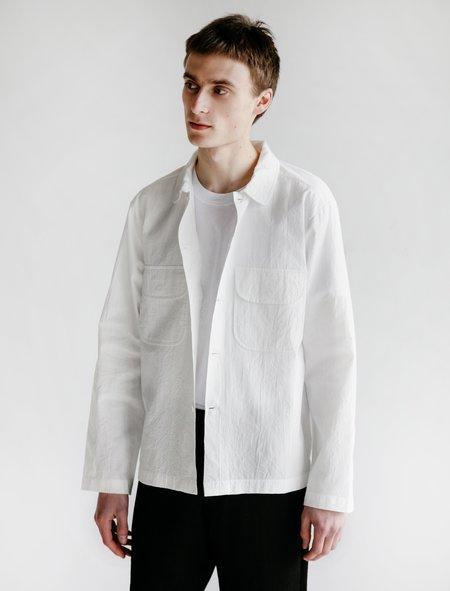 Evan Kinori Crinkle Set Cotton Field Shirt - White