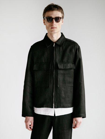 Evan Kinori Hemp Herringbone Zip Jacket - Black