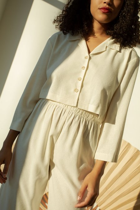 OR Cropped Raw Silk Cinched Jacket - Cream