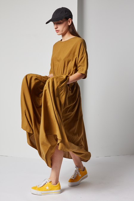 Black Crane Pleated Dress in Olive