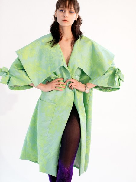 Suzanne Rae Floral Jacquard Coat - Mint Green