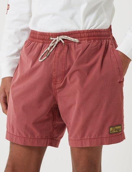 Deus Ex Machina Sandbar Solid Garment Dye Shorts - Red Ochre