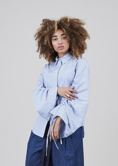 Odeeh Bell Sleeve Cinch Top - Blue Stripe