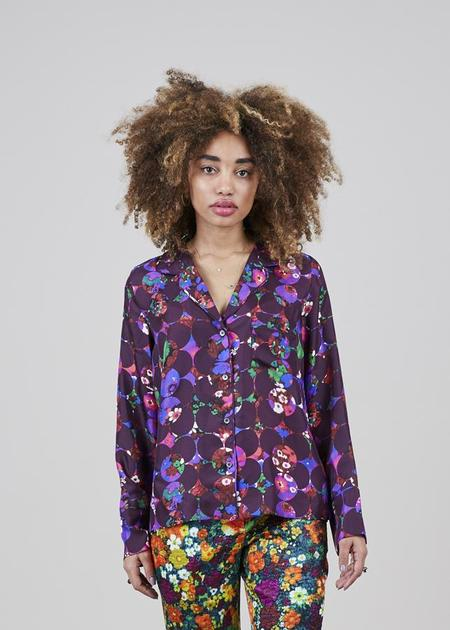 Odeeh Silk Floral Pijama Top - purple floral