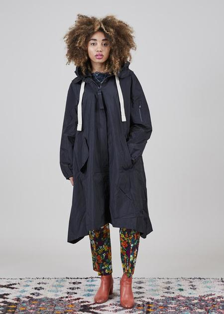 G-Lab Soley Tech A-Line Coat - Black Crinkle