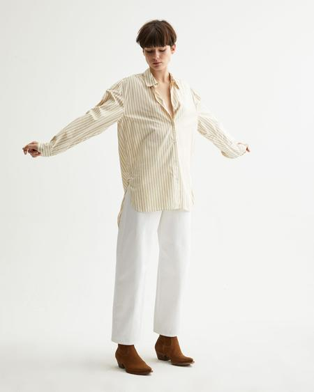 Nili Lotan Noa Shirt - Tan Stripe