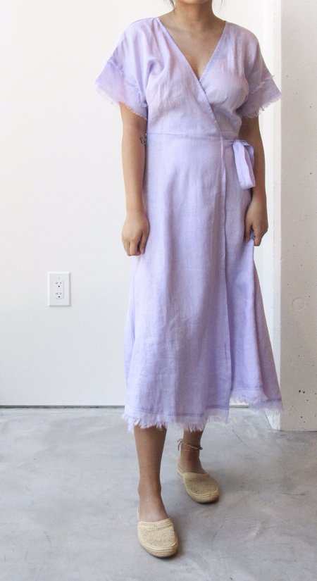 at Dawn. Linen Dolman Wrap Dress
