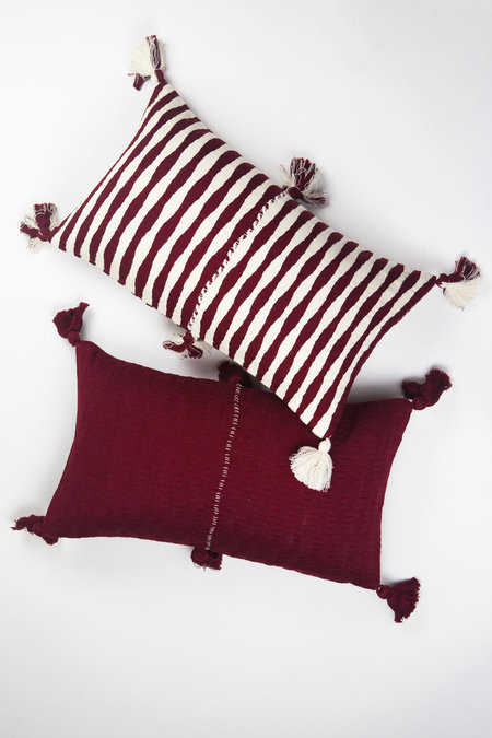 Archive New York Antigua Pillow - Burgundy Stripe