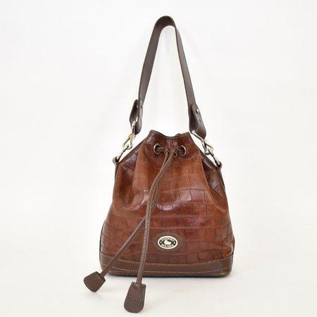 VINTAGE Found Dooney & Bourke Croc Bucket Bag - Brown