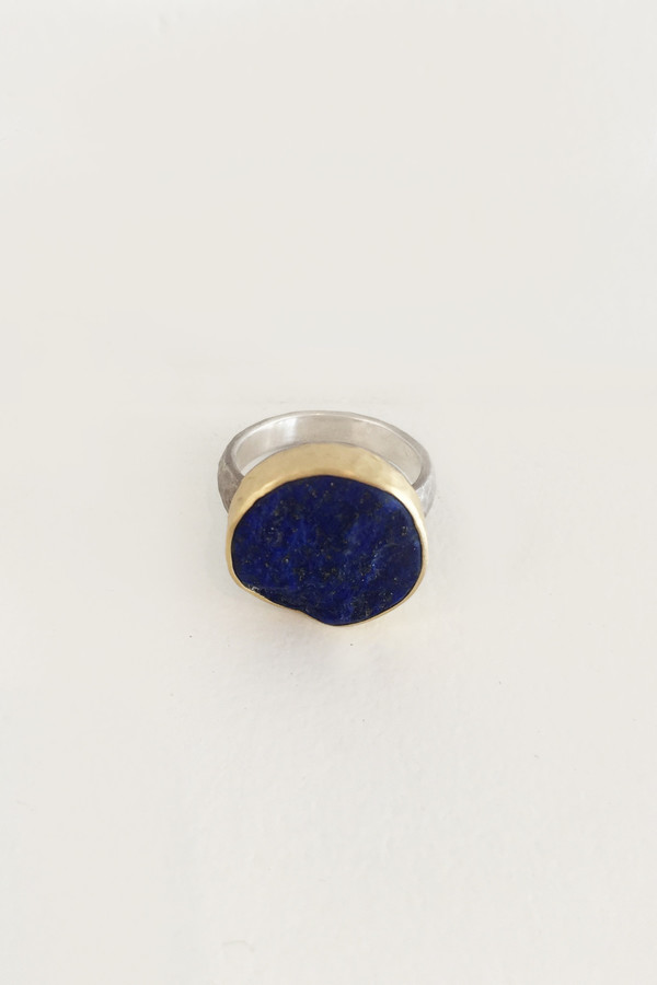 Tony Malmed Rough Top Lapis 18k Gold Ring