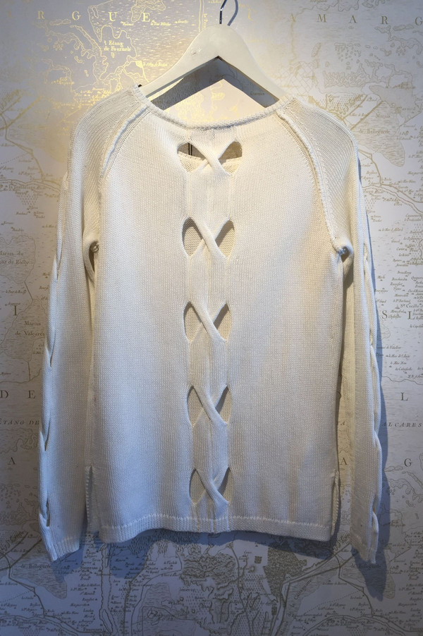 Tess GIberson Cut-out cable knit sweater