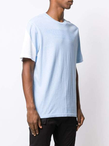 HELMUT LANG colour block logo T-shirt - White/sky