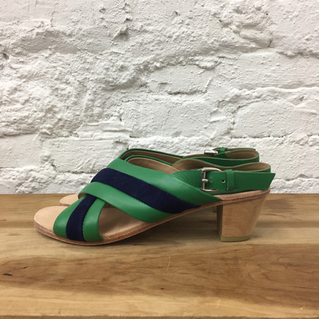 A Détacher Blackwell Striped Crossover Sandals - Green/Navy